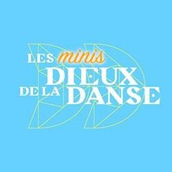 Logo Les minis Dieux de la danse, sur fond bleu.