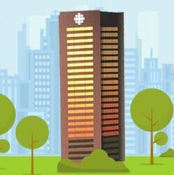 Un dessin de la tour de Radio-Canada.