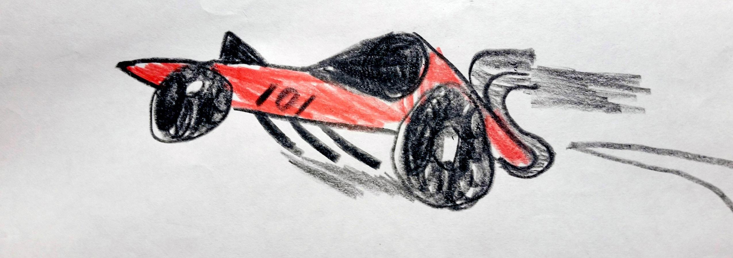 La photo montre le dessin d'une voiture de course rouge arborant le numéro 101.