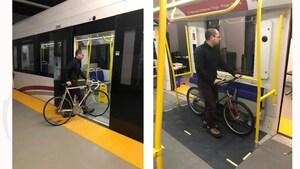 Les vélos permis en tout temps dans le train léger, recommande une commission