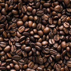 Zoom sur plusieurs graines de café.