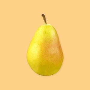 Une poire sur un fond jaune.