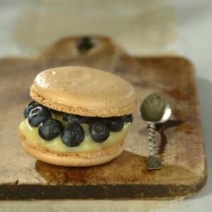 Un macaron, crème au citron et aux bleuets sur une planche de bois.
