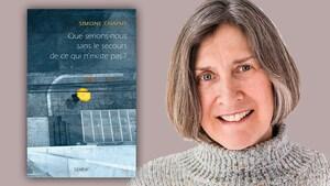 Montage visuel montrant l'écrivaine souriante près de la couverture de son livre.