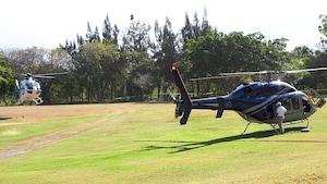 Deux hélicoptères sont visibles sur une pelouse verte avec des arbres en arrière-plan.