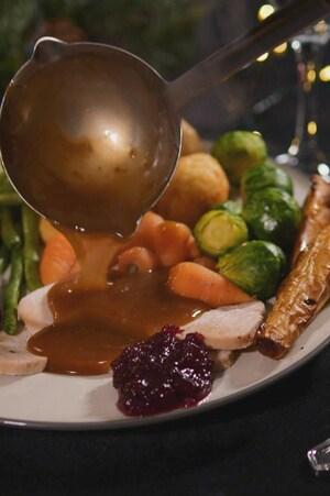 Une assiette de dinde avec sa sauce et des petits légumes.