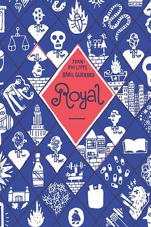 Diverses illustrations d'un livre ouvert, de la tour de l'Université de Montréal, de deux personnes qui trinquent un verre à la main, d'une tête de mort, d'une balance de justice.