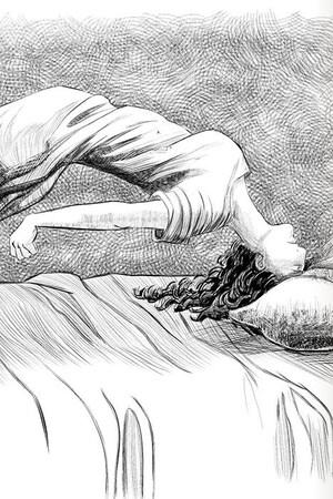 Illustration d'une crise d'épilepsie dans un livre de médecine, dans la séries Les pays d'en haut.
