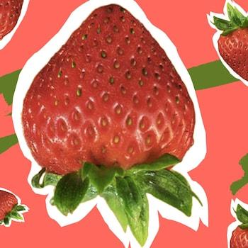 Des fraises sur un fond coloré de rose et de vert.