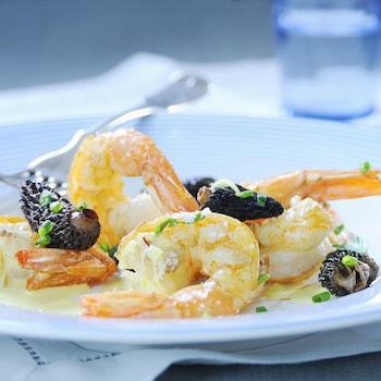 Une assiette blanche contenant quelques crevettes cuites et des morilles dans une sauce crème légère.