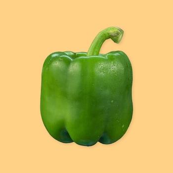 Un poivron vert sur un fond jaune.