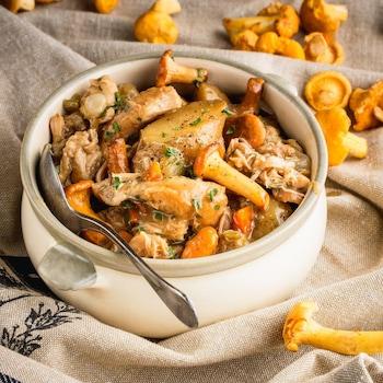 Un plat de ragoût de poulet aux chanterelles.