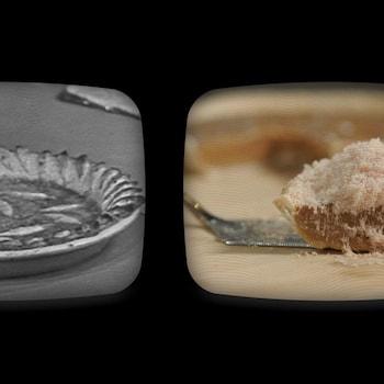 Une vieille image de tarte au sucre présentée aux côtés d'une image de la recette de tarte au sucre d'érable et au foie gras.