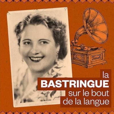 Montage d'un portait de Mary Travers alias La Bolduc près d'une illustration d'un gramophone.