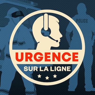 Illustration d'un répartiteur avec son casque d'écoute, sur filigrane d,ambulancier et de policier avec leur véhicule respectif avec le logo d'Urgence sur la ligne.