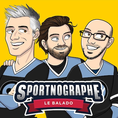 Dessin illustrant Olivier Niquet, Jean-Philippe Wauthier et Jean-Philippe Pleau portant un chandail de hockey.