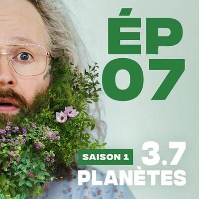Présentation de l'épisode 07 de la saison 1 de 3.7 Planètes, avec François Bellefeuille, avec une barbe de feuilles et de fleurs.