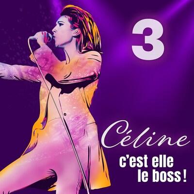 Montage visuel montrant la chanteuse Céline Dion sur scène.