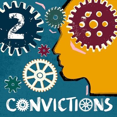 Un dessin d'un tête entourée d'engrenages avec en surimpression le titre du balado Convictions.