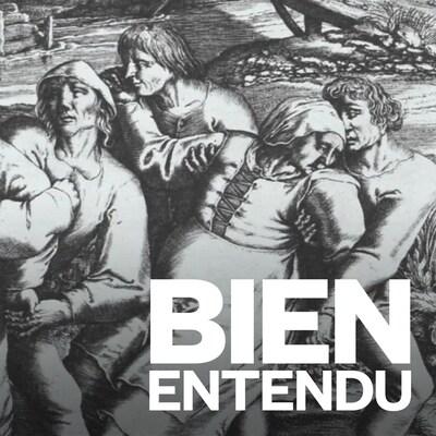 Six hommes tiennent trois femmes les bras dans le dos, dans un paysage de campagne.