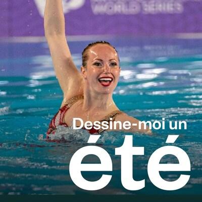 Jacqueline Simoneau dans la piscine fait une compétition.