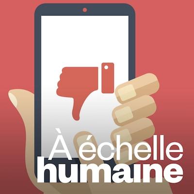 Une illustration présente un téléphone portable sur lequel un pouce tourné vers le bas se trouve sur l'écran.