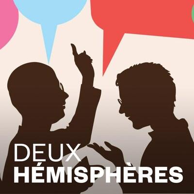 Ilustration montrant des personnes en conversation et le logo de l'émission Deux hémisphères.