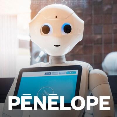 Un robot avec un visage et une tablette tactile au niveau de la poitrine. Au bas de l'image, on peut lire « Pénélope ».