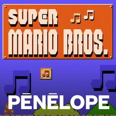 Une image du premier tableau du jeu original de Super Mario Bros, mais avec des notes de musique un peu partout dans le ciel.