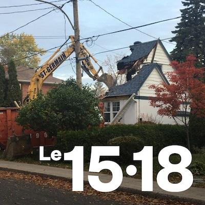 Démolition d'une maison à Longueuil.