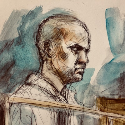 Dessin de cour de l'accusé au regard impassible.