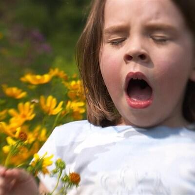 Une fillette éternue devant des fleurs.