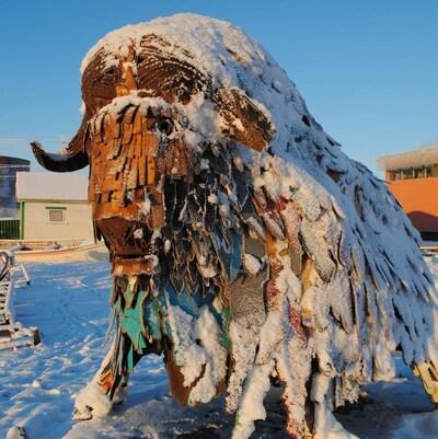 Plan moyen d'un bison de métal sous la neige par une journée ensoleillée.