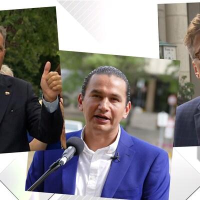 trois hommes sont représentés dans un collage de photos.
