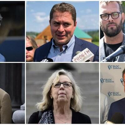 Les chefs des six principaux partis politiques au Canada.