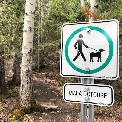 Une pancarte indique que les chiens sont acceptés dans un sentir du parc national du Bic.