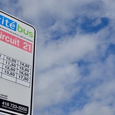 Un panneau d'arrêt de Citébus