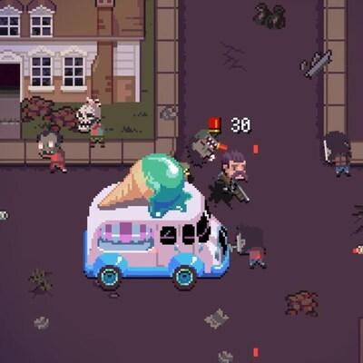 Une capture d'écran du jeu vidéo Death Road to Canada montrant un camion de crème glacée rose stationné au centre d'une rue pendant qu'un personnage portant un fusil à pompe se bat avec des zombies.