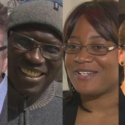 Les quatre candidats de gauche à droite Le libéral Dougald Lamont, le conservateur Mamadou Ka, la néo-démocrate Blandine Tona  et la candidate du Parti vert Françoise Therrien Vrignon.
