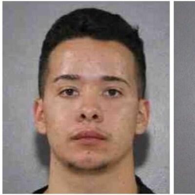 Deux photos d'un même homme, il a les cheveux courts foncés et un tatouage affichant des caractères asiatiques sur le côté gauche de son cou.