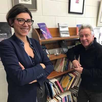 La directrice des Éditions du Blé Emmanuelle Rigaud et l'auteur Roger Léveillé
