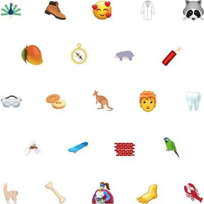 Quelques emojis dispersés sur un fond blanc.