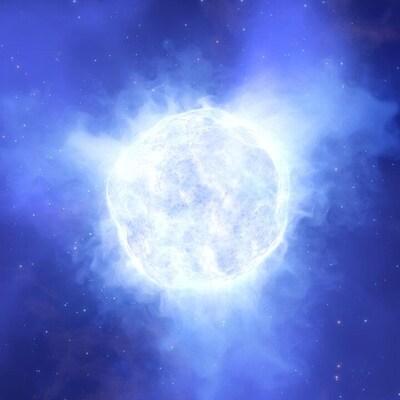 Illustration artistique d'un cercle brillant représentant l'étoile disparue.