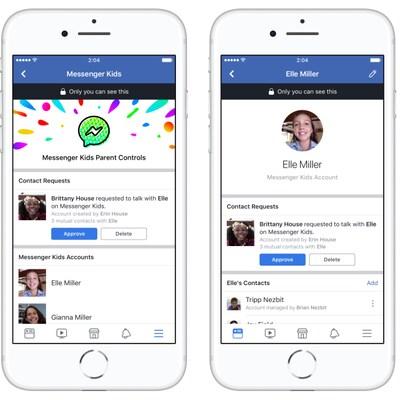 Trois captures d'écran de l'application Messenger Kids.
