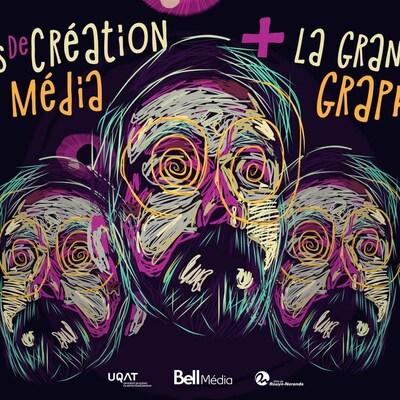 Une affiche montre l'image d'un événement et indique Concours de création Bell Média + La Grande bataille graphique, le 30 mars à 20h au Petit théâtre du Vieux Noranda».