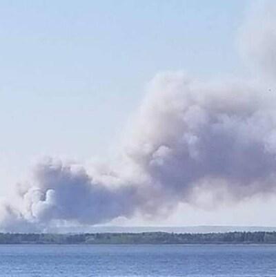 La fumée à la suite d'un feu de forêt.