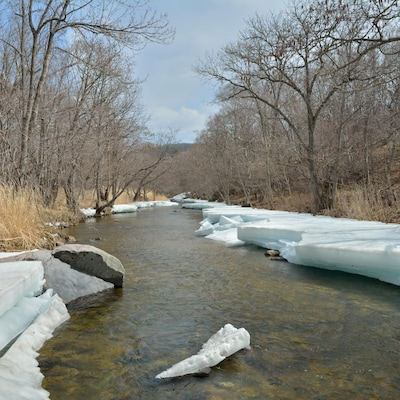 Vue panoramique d'une petite rivière bordée de glace, sous un ciel bleu.