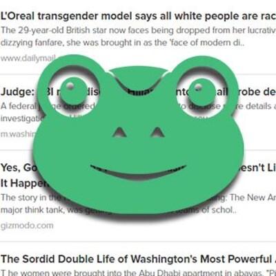 Le logo représente une grenouille verte et est superposé à la section des nouvelles du site.
