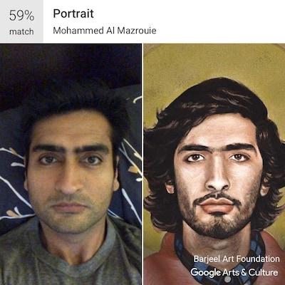 Un égoportrait de l'acteur Kumail Nanjiani à côté d'un portrait d'un jeune homme peint par Mohammed Al Mazrouie.