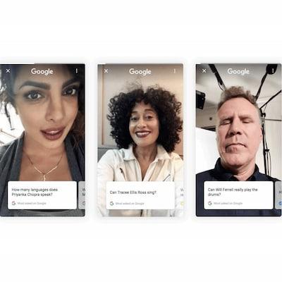 Une capture d'écran montrant Priyanka Chopra, Tracee Ellis Ross et Will Ferrell en train de se filmer et de répondre à des questions des internautes.